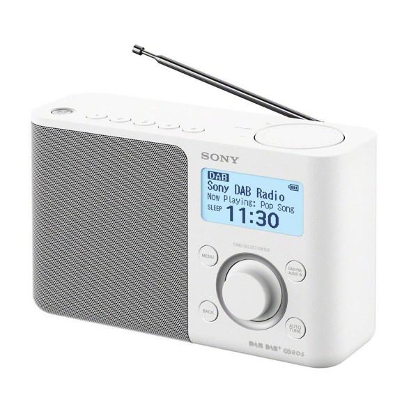 Sony xdr-s61d blanco radio dab/dab+ portátil con pantalla lcd presintonías directas temporizador de apagado y despertador