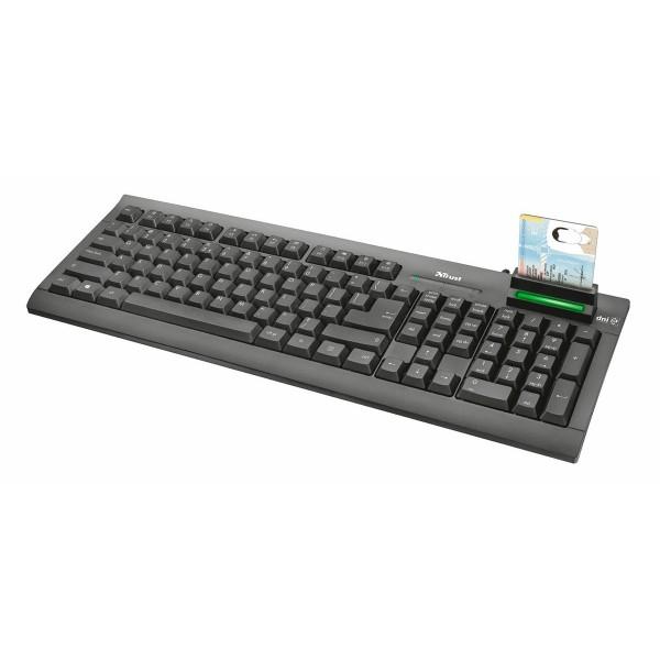 Trust teclado negro multimedia con lector de dni integrado compatible con windows conexión a través de puerto usb