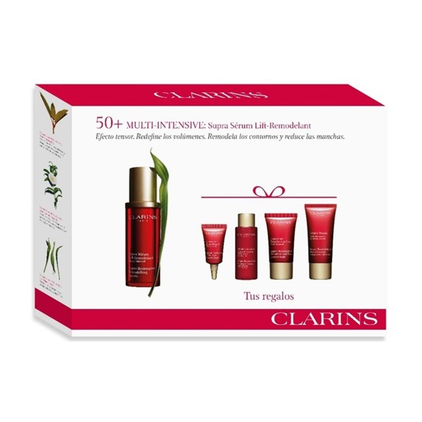 Clarins multi-intensif supra serum 50ml + crema de manos 30ml + concentrado 15ml + locion 10ml + eye 3ml