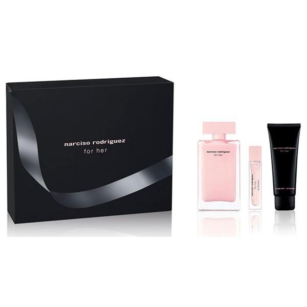 Narciso rodriguez for her eau de parfum 100ml vaporizador + perfumed body lotion 75ml + spray musc 10ml