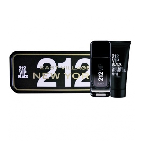 Carolina herrera 212 vip black eau de parfum pour homme 100ml vaporizador + gel de baño 100ml + miniatura 10ml vaporizador