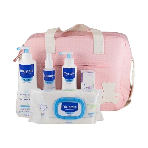 Mustela bolsa rosa gel de baño + body milk + colonia + toallitas 70uds + balsamo