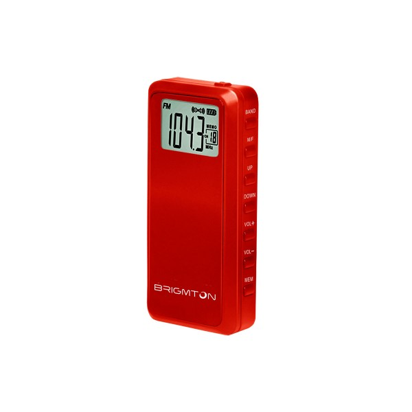 Brigmton bt123 rojo radio am/fm portátil 60 presintonias temporizador de apagado