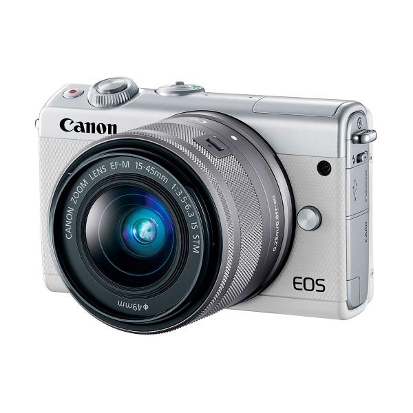 Canon kit eos m100 blanco cámara compacta 24.2mp full hd digic 7 wifi nfc bluetooth + objetivo ef-m 15-45mm