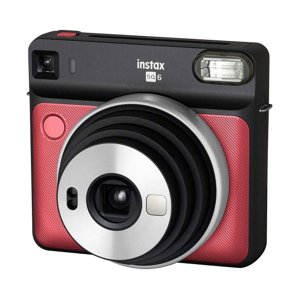 Fujifilm instax square sq6 rojo rubí cámara instantánea con 5 modos de imagen y 3 filtros para el flash