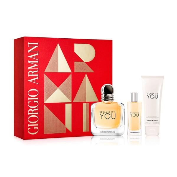 Giorgio armani because you eau de parfum 100ml vaporizador + locion corporal 75ml + eau de parfum 15ml vaporizador