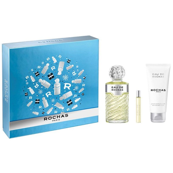 Rochas eau rochas eau de toilette 100ml vaporizador + perfumed body lotion 100ml + miniatura 20ml vaporizador