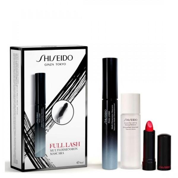 Shiseido full lash mascara de pestañas bk901 + instant eye and lip 30ml + rouge rd501