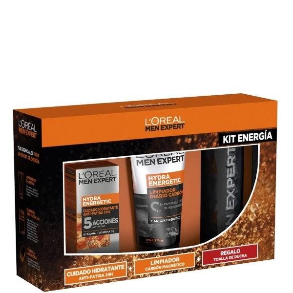 L´Oreal Men Expert Set Crema Hidratante  Hydraenergetic + Limpiador Carbón + Regalo Toalla de ducha.