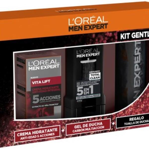L´Oreal Men Expert Set  VITALIFT  Crema Anti-Edad  + Gel de Ducha Carbón + Regalo Toalla de ducha.