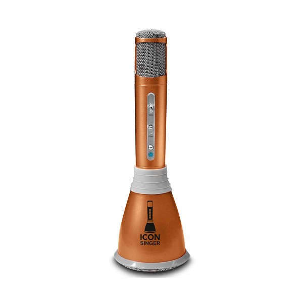 Motorola icon singer dorado micrófono inalámbrico karaoke bluetooth 3w con funda de transporte