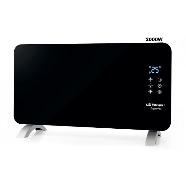Orbegozo reh-2060 radiador negro 2000w con panel radiante de cristal templado