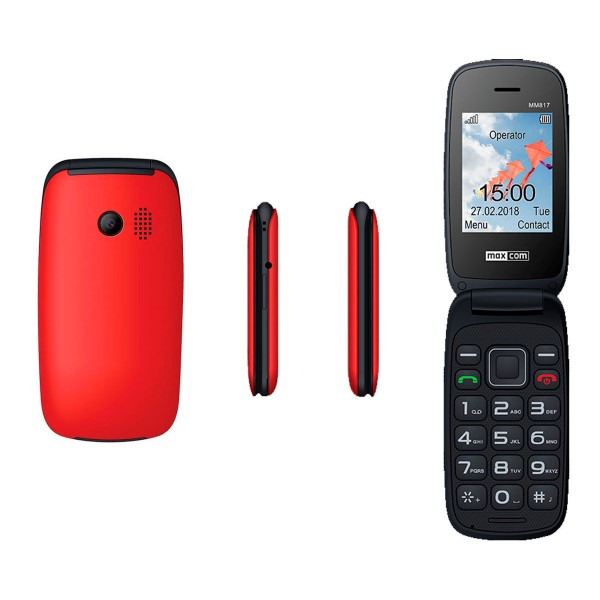 Maxcom mm817 rojo móvil senior tipo concha 2.4'' cámara dual sim sos radio fm ranura microsd