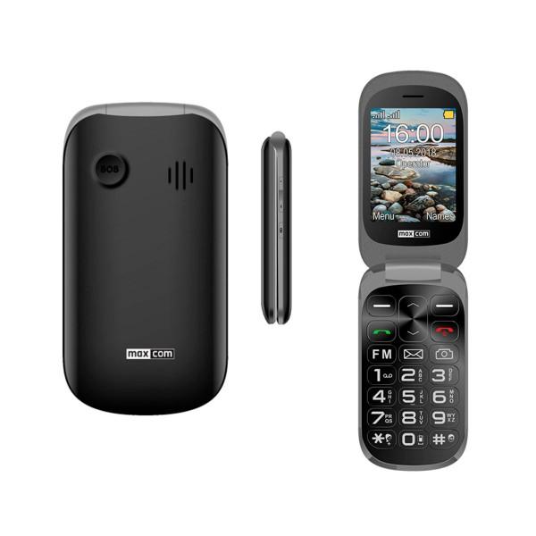 Maxcom mm825 negro móvil senior tipo concha 2.8'' / 1.77'' doble pantalla cámara dual sim sos radio fm ranura microsd
