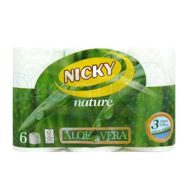 NICKY  Papel higiénico Aloe Vera 3 c 6 Rollos