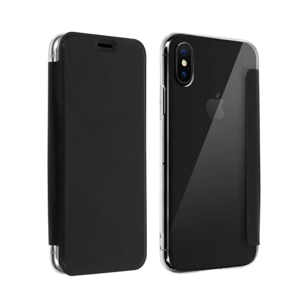 Akashi funda folio transparente negro apple iphone xs