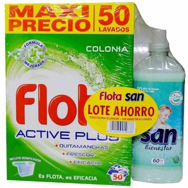 FLOTA DETERGENTE COLONIA 50 dosis + SAN SUAVIZANTE BIENESTAR 60 dosis