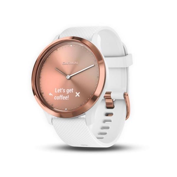 Garmin vivomove hr sport rosa oro blanco reloj inteligente híbrido con control de frecuencia cardíaca y bluetooth
