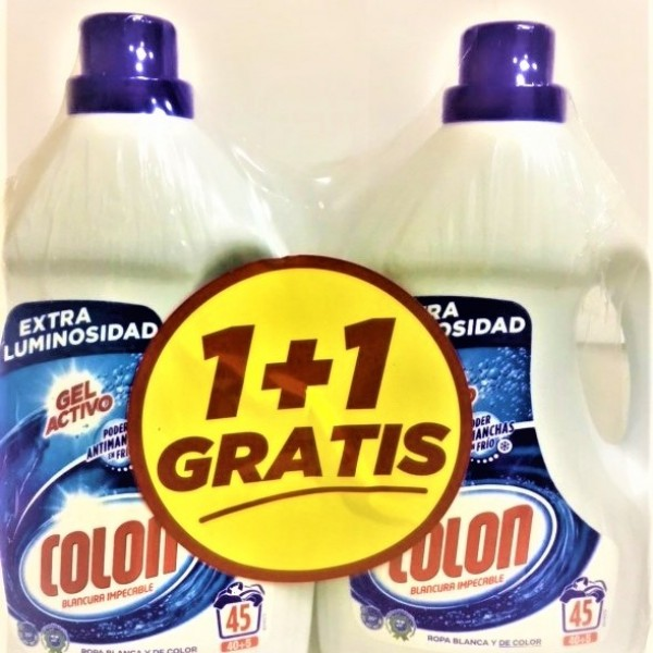 Colon detergente gel blancura impecable 45 lav.  2 x 1 gratis
