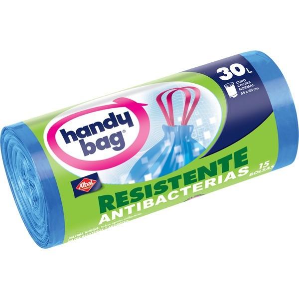 Handy bag bolsas basura resistente maxi rollo antibacterias   30l . 15 bolsas