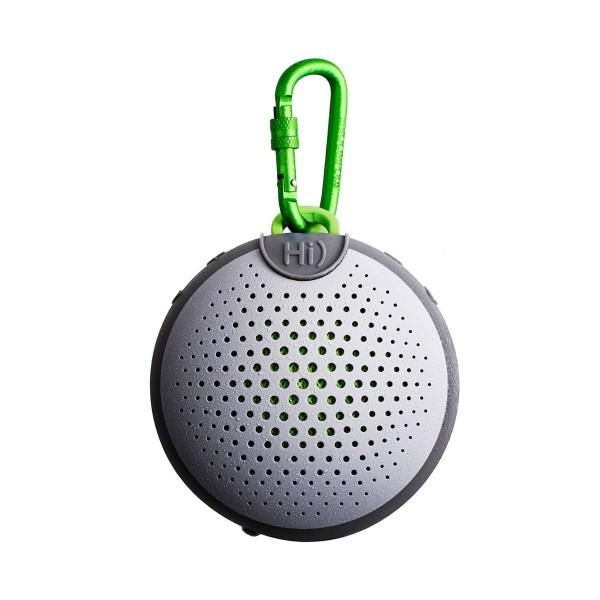 Boompods aquablaster gris y verde altavoz portátil 8w rms bluetooth mosquetón integrado impermeable ipx7