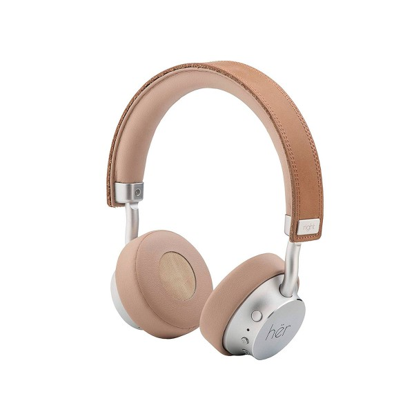 Her on-hear marrón auriculares inalámbricos bluetooth con micrófono integrado alta calidad diseño minimalista