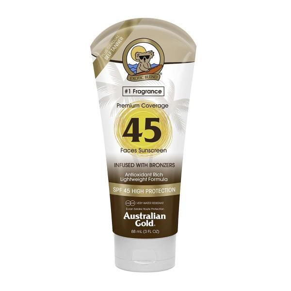 Australian gold premium coverage bronzer crema facial spf45 88ml