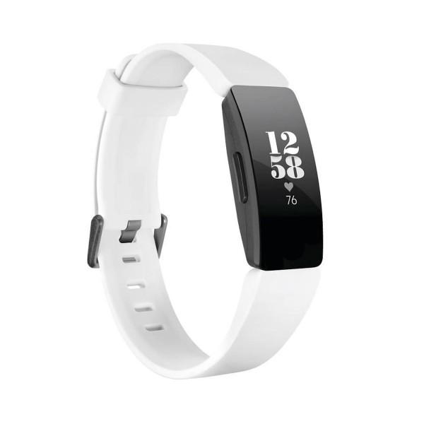 Fitbit inspire hr negra pulsera de actividad con pantalla oled táctil y correa blanca