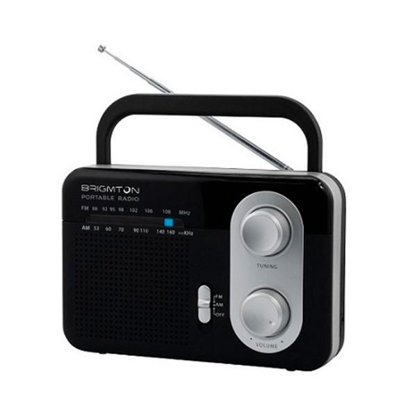 Brigmton bt-250-n negro radio am/fm analógica portátil a red o pilas