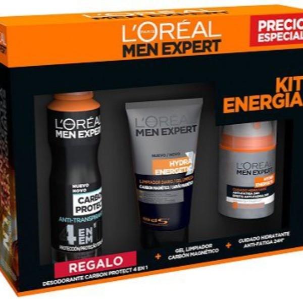 L´Oreal Men Expert Set Crema Hydra Energetic + Gel Limpiador de carbón + Deo Carbón