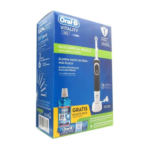 Oral -B  Pack  Vitality 100 Cepillo eléctrico + pasta dentrífica Pro Expert + Elixir oral 500 ml